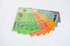 Malaysian Ringgits. Malaysian ringgit notes isolated on white background Stock Image