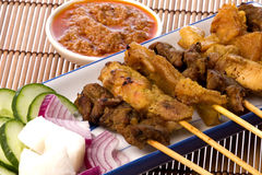 Malaysian Satay. Image of a Malaysian delicacy commonly known as Satay (bamboo stick skewered barbequed meat Stock Photography
