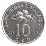 10 Malaysian sen coin. Closeup on a white background Stock Images
