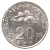Malaysian sen coin. 20 Malaysian sen coin closeup on a white background stock photos