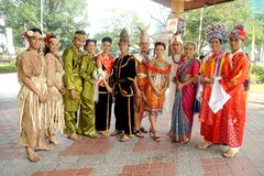 Malaysian in Traditional entire. Malaysian in Traditional costume - Malay, Chinese, Indian, Bajau, Ibans and Mah Meri stock images