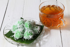 Malaysian traditional kuih Ondeh Ondeh or Kelepon for Indonesian Stock Image