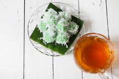 Malaysian traditional kuih Ondeh Ondeh or Kelepon for Indonesian Stock Photos