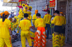 Malaysian Traditional Lion Dance Stock Photo