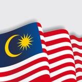 Malaysian waving Flag. Vector illustration. Stock Images