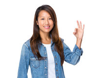 Malaysian woman hand with ok sign Stock Images