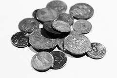 Malaysische Münzen auf Weiß Stockfoto