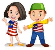 Malaysischer Mädchen- und Jungengruß lizenzfreie abbildung