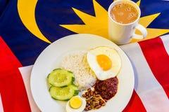 Malaysisches Frühstück - Nasi Lemak und der Tarik auf Malaysia-Flagge Stockbilder