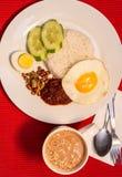 Malaysisches Lebensmittel - Nasi Lemak und schaumiges der Tarik auf einem roten backgr Lizenzfreies Stockbild