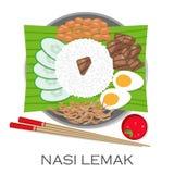 Malaysisk kokkonst, Nasi Lemak eller ångade ris stock illustrationer