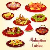 Malaysisk kokkonstsymbol av kött och den havs- maträtten stock illustrationer
