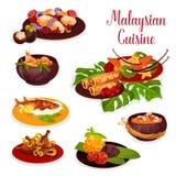 Malaysisk kokkonstsymbol med den exotiska matställematrätten vektor illustrationer
