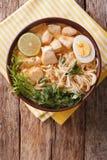 Malaysisk laksasoppa med höna, ägget, nudlar och örter stänger sig royaltyfria bilder