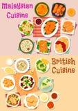 Malaysisk och brittisk uppsättning för symbol för kokkonstlunchmeny royaltyfri illustrationer