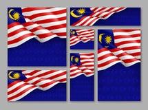 Malaysisk patriotisk festlig baneruppsättning Arkivfoton