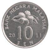 10 malaysisk sen mynt Arkivbilder