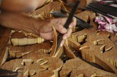 Malaysisk traditionell träskulptur från Terengganu Arkivfoto