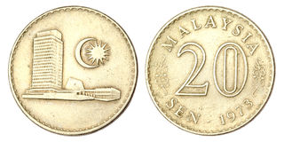Malaysiskt mynt av avkännare 20 av 1973 Royaltyfri Fotografi