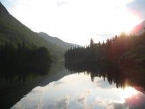 Malbaie-coucher du soleil photo stock