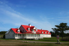 Malbaie tipical house. Classical nice house with red tiles in canada Stock Photography