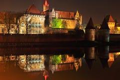 Malbork Castle. Castle Malbork (Marienburg) at night, Poland Royalty Free Stock Image