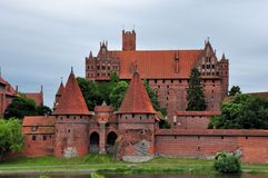 Malbork castle on cloudy day, Poland Royalty Free Stock Photos