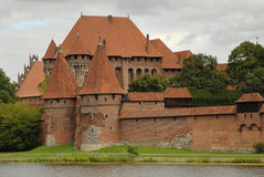 Malbork castle entrance. From opposite river bank Stock Photo