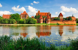Malbork Castle, Poland. The medieval Malbork Castle in Poland, one of the largest castles in Europe that was founded by the Knights of the Teutonic Order in the Stock Images
