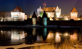 Malbork castle in Poland at night Royalty Free Stock Photography