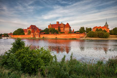 Malbork Castle in Poland at Sunset Royalty Free Stock Photo
