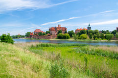 Malbork Castle and the river Nogat in Poland. Royalty Free Stock Images