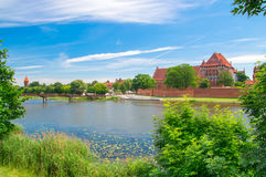 Malbork Castle and the river Nogat in Poland. Royalty Free Stock Image