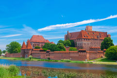 Malbork Castle and the river Nogat in Poland. Stock Photos