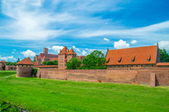 Malbork Castle and the river Nogat in Poland. stock photography