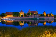 Malbork Castle of the Teutonic Order at night. Poland Royalty Free Stock Images