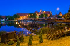 Malbork Castle of the Teutonic Order at night. Poland Stock Images
