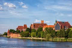 The Malbork Castle and Town in Poland Royalty Free Stock Photos