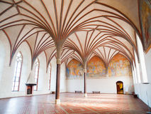 Malbork Grand Refectory. The Grand Refectory, the biggest hall in Malbork Castle with beautiful gothic rib vault ceiling, Poland Royalty Free Stock Images