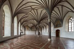 Malbork in greatest Gothic castle in Poland. Chamber in greatest Gothic castle in Europe - Malbork. Teutonic castle. World Heritage List UNESCO. Gothic gallery Royalty Free Stock Photos