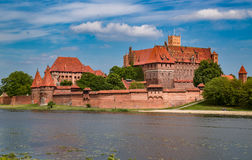 Malbork, Marienburg, the biggest medieval gothic castle in Poland. An old medievl german and polish castle and city, the biggest harbour in Poland. Beautiful Royalty Free Stock Photos