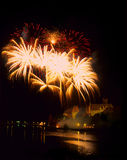 Malbork by night. Beautiful exhibition of fireworks on the sky of Malbork Royalty Free Stock Photo