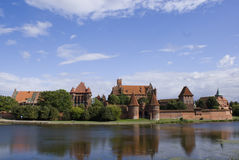 Malbork panorama. A panoramic view on Malbork (Marienburg) castle stock images