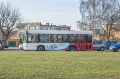 Bus in the city center of Malbork. Stock Photo