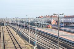 Platforms with trains at Malbork railway station. Stock Photos