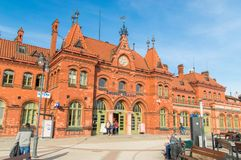 View of the main facade of Malbork railway station Stock Image