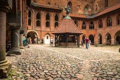 MALBORK POLEN - September 10,2016: Inre i störst gotiskt Arkivfoton