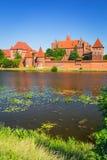 Malbork slott i sommarlandskap Royaltyfria Bilder