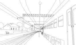 Malbuch der Zug auf der Plattform Vektorillustration der Eisenbahn im Dorf stock abbildung