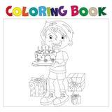 Malbuch des Karikaturjungen mit Kuchen Geschenke dem am Feiertag Stockfotos